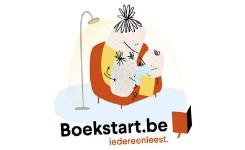 Logo van Boekstart, oma die voorleest voor haar kleinkinderen