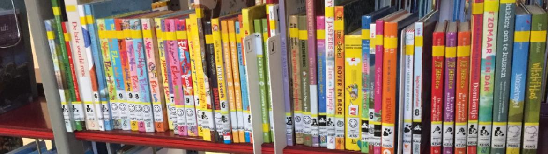 foto van een rek met boeken in de bib