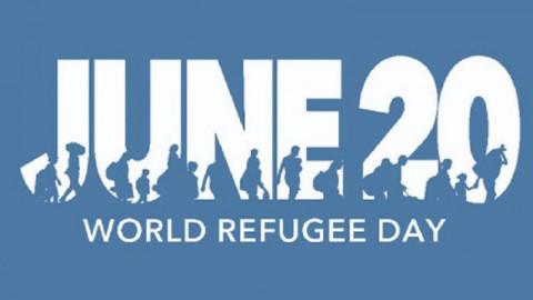 20 juni met silhouetten van mensen op de vlucht